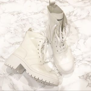 Marc Jacobs White Bristol Combat Laced-up Boots